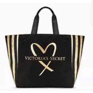 Victoria's Secret Black & Gold Heart Tote